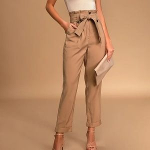 Aqua Paperbag-Waist Straight-Leg Pants size M